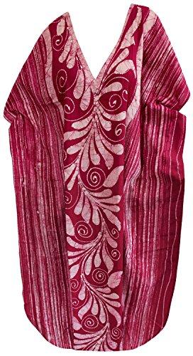 La Leela lange Kaftan Bademode Badebekleidung Baumwolle Hand Batik Frauen Nacht tragen Kleid evevning Rot 5