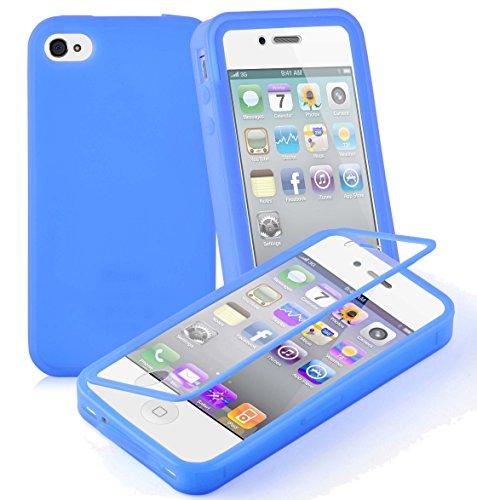 Preisvergleich Produktbild Cadorabo - TPU Silikon Schutzhülle (Full Body Rund-um-Schutz auch für Das Display) für > Apple iPhone 4 / iPhone 4S < in Alkali-BLAU