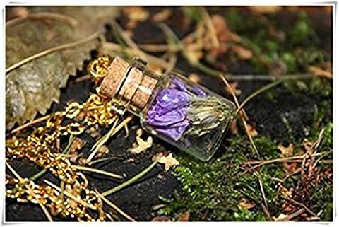 Jewelry with flowers, Glass terrarium, Violet bouquet in a bottle, Botanical Vial Necklace, Pendant, dried flowers Pendant