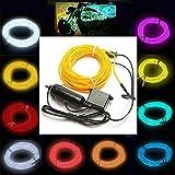GOZAR 5M El Neon Luz Efecto Luz Cable Cuerda Cable 12V Inversor - Azul