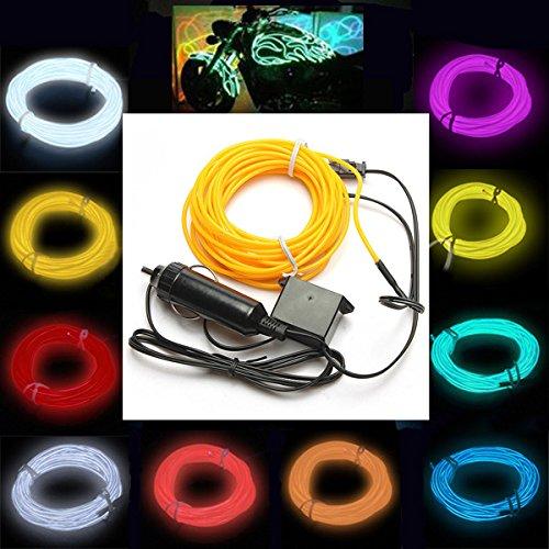 GOZAR 5M EL Neon Light Effect Light Cable Cord Wire 12V Wechselrichter - Weiß