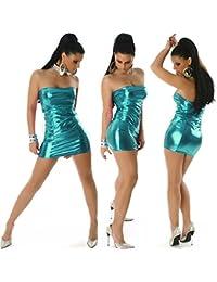 Jela London Damen Glossy Wetlook GoGo Bandeau Minikleid metallic Schlauchkleid Club (34/36/38)