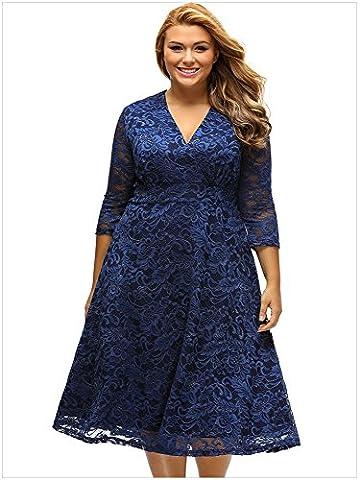 YLSZ-Seven loose umbrella skirt sleeve side knee loose umbrella skirt dress dress size fat girl dress,Navy Blue,XXL