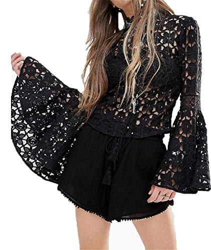 Moda Cuello Alto Subido con Estampado de Flores de Encaje Manga de la Trompeta Pull On Blusón Blusa Camisero Camiseta Camisa Top Arriba Negro XL
