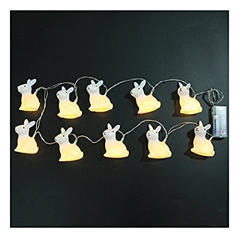 10 LED Shiny Bunny Crossing Fairy String Lights Battery-Operated Indoor Decorations, WarmWhite, 65'' (165cm)