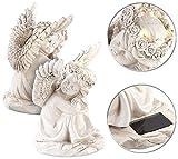 Lunartec Solar-Engel für Grab: 2 schlafende Solar-LED-Schutzengel-Figuren, 17 cm, für Innen & Außen (Engel Beleuchtet)