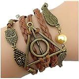 CargoMix© Bracelet 3 en 1 avec pendentifs Hedwige, Vif d'or et logo Reliques de la Mort Bracelet Cuir PU Hibou Collection