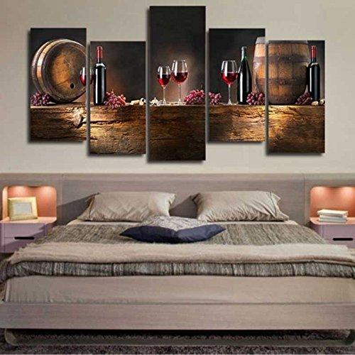 Kicode Botellas de vasos de vino Cuadro de arte...