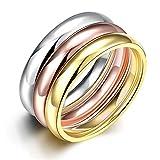 YAZILIND Fashion bijoux exquis lisse 3 couleurs Titanium anneaux en acier pour les amants