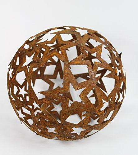 Sternen Kugel Metall Rost Gartendeko Edelrost 30cm (Metall-sterne-haus)