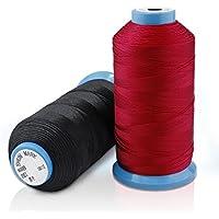PsmGoods® Bonded filo di nylon cucito forte per cucire a mano Stitching Nero (Mano A Filo)