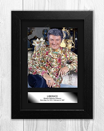 Engravia Digital Liberace Poster Signed Autograph Reproduction Photo A4 Print(Black Frame)