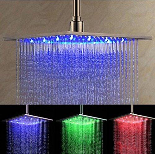 """Preisvergleich Produktbild BLYC- 12 """"Quadratisch Edelstahl 3 Farbwechsel durch Wasser Temperatursensor Regenfall Duschkopf, Chrom"""
