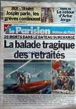 PARISIEN EDITION DE PARIS (LE) [No 16824] du 09/10/1998 - 20 morts dans le bateau surcharge - la balade tragique des retraites en espagne sur le lac de banyoles psg - le retour d'artur jorge jopin parle, les greves continuent