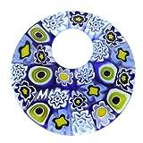 GlassOfVenice - Colgante de Cristal de Murano Millefiori (tamaño Mediano), Color Azul y Blanco