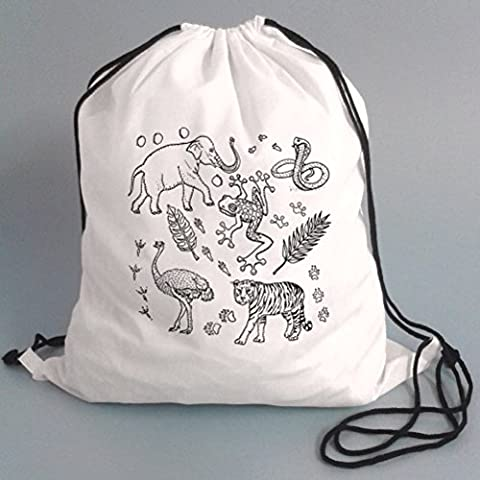 Drawstring P.E Bags For Kids To Colour In. Printed Outline