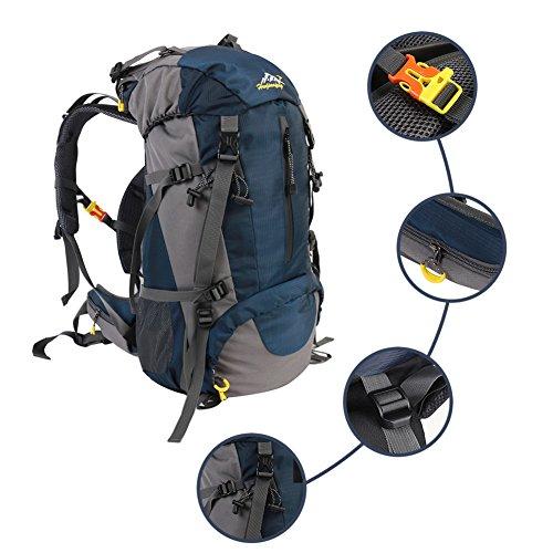 Abfalltonne Wandern Camping Rucksack, wasserdicht Outdoor Sport Bergsteigen Reise Rucksack, groß Trekking Rucksack mit Regenschutz Dunkelblau