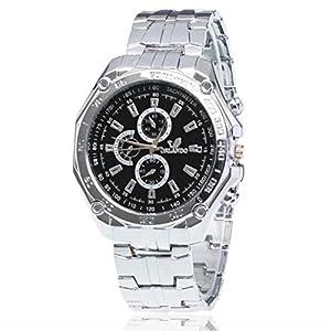 Yogogo Herren Edelstahl Quarz Analog Armbanduhr Sportuhren Geschenke Luxus , 1 Cent Artikel (Silber)
