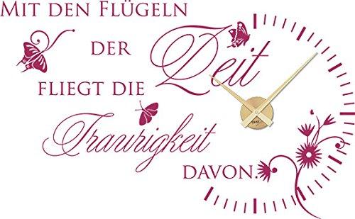 GRAZDesign 800065_GD_821 Wandtattoo Uhr Wanduhr mit Uhrwerk für Wohnzimmer mit Den Flügeln der Zeit (92x57cm//821 Magnolia//Uhrwerk Gold) Gold Magnolia