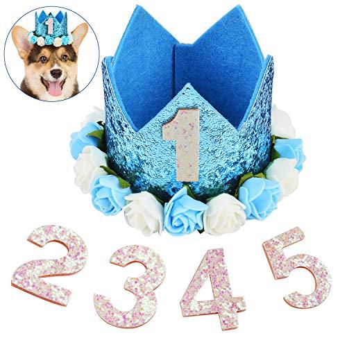 Legendog Cappello da Compleanno per Animali Domestici Carina Glitter Crown Decorazioni Floreali Festa Cappelleria per Cani