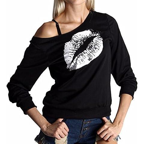 QIYUN.Z Donne Fashion Girls Labbra Un-Spalla Stampati Casuali Felpe Nere Camicette