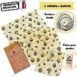 ELACE Bee Wrap Film Alimentaire Lavable réutilisable en Coton Bio et Cire d'Abeille - Lot de 6 (XL+L+ 3X M + S) - Couvre Plat Tissu et Emballage Alimentaire Ecologique, Zero déchet (Lot DE 6)