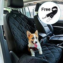"witmoving perro Auto asiento delantero cubre tejido impermeabilizante lavable único asiento de pasajero pantalla coche mascota viaje cubo–Black-43""* 19"" (un libre mascota coche cinturón de seguridad 14""-21incluido)"