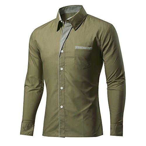 Rmine Rmine Herren Langarm Hemd Bügelleicht für Freizeit Business M-4XL (Armee grün, M)