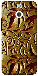 The Racoon Lean printed designer hard back mobile phone case cover for HTC One (E8). (Gold Weave)