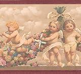 RetroArt Bébé anges avec bordure de papier peint brun coloré Rose Garland pour les enfants, rouleau de 15' x 9''
