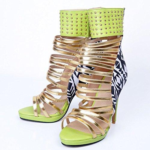 Kolnoo Femmes Handmade 12cm Ankle Wrap Style creux sandales à talons hauts Chaussures Stiletto green
