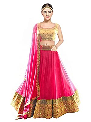 Pramukh Fashion Women's Banglory Silk Semi-Stitched Lehenga Choli (kaya Pink,MULTI-COLOUR,Free Size)