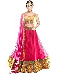 Pramukh Fashion Women's Banglory Silk Semi-Stitched Lehenga Choli (kaya Pink,MULTI-COLOUR,Free Size)
