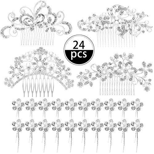 24 Stücke Hochzeit Braut Haarkämme Kristall Perle Strass Haarspangen Seite Haarschmuck und U-förmige Perle Haarnadeln für Bräute und Brautjungfern -
