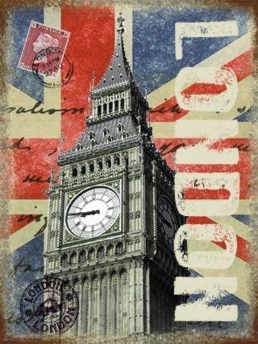 Londra postale scheda con Grande Ben. Regina Elisabetta Torre in Palace di Westminster. Union Jack, Eccezionale Gran Bretagna. Britannico. Per casa, barrette o pub. Metallo/Targa Da Parete Acciaio - 9 x 6.5 cm (calamita) - Deco Storage Box
