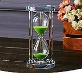 MINGZE Transparent Kristall Sanduhr Timer Sand Uhr Handwerk Glas Dekoration, 15 Minuten / 30 Minuten / 60 Minuten (Grün, 60 Minuten)
