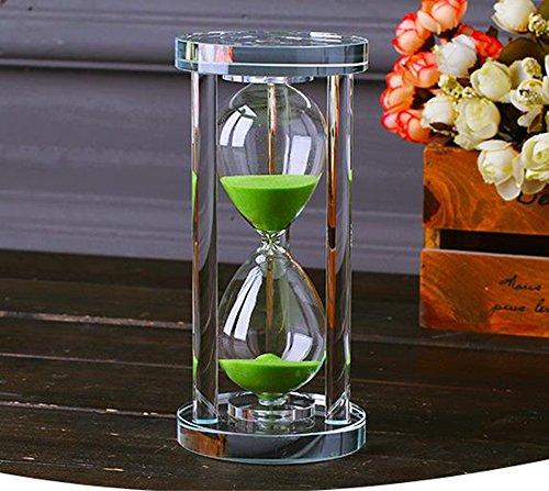 MINGZE Transparent Kristall Sanduhr Timer Sand Uhr Handwerk Glas Dekoration, 15 Minuten / 30 Minuten / 60 Minuten (Grün, 30 Minuten)