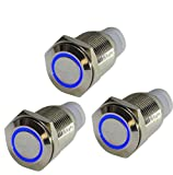 HOTSYSTEM 3x16mm 12V Metall Reset Taster LED Beleuchtet Drucktaster Druckknopffür Auto KFZ Blau