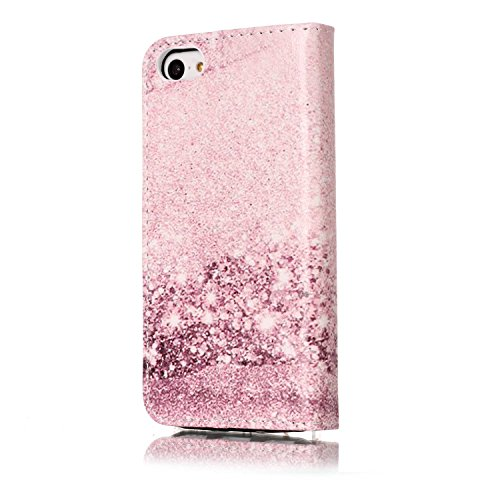 Cover iPhone 5C Marmo, iPhone 5C Flip Case Leather, SainCat Custodia in Pelle Cover per iPhone 5C, Anti-Scratch Book Style Protettiva Caso Elegante Creativa Dipinto Pattern Design PU Leather Flip Port Rose Gold