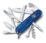 Victorinox Offiziersmesser Huntsman, Schweizer Taschenmesser, blau transparent, mit 15 Funktionen