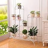 Multi-Tier fleur/porte-étagères/étagère forte étagère en métal de fer pour plante Plante Stable plante support ferme étagère de jardin pour jardin en plein air/d'intérieur (Couleur : Blanc)