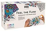 Kreul 22700 - Feel The Flow, Window Color Ausmalset für Erwachsene, 5 x 80 ml Fenstermalfarben in orange, pink, violett, türkis und hellblau sowie 5 transparente Motivkarten zum Ausmalen