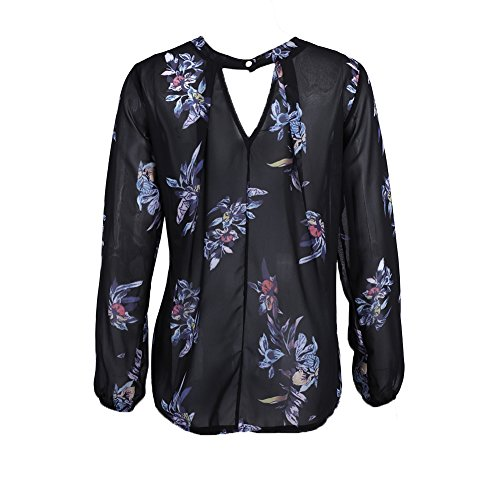 Rrimin New Fashion Women Retro Long Sleeve Floral Print Casual Shirt Blouse Top (S)