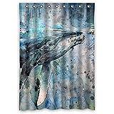 costumbre Whale 100% poliéster fábrica cortina Window Curtain (una pieza), Poliuretano, c, 52x72(inches)