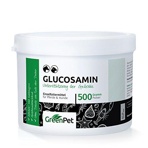 GreenPet 100% natürliches Glucosamin 500 g KCL Pulver - Unterstützung der Gelenke bei Pferde und Hunde