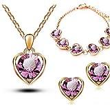 Women's 18K Gold & Silver Plated Crystal Heart Shape Necklace Earrings Sets