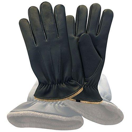 Prime Qualité Supérieure Cuir Véritable Mode Hiver Habillage Gants Avec Doublure 9040 - Noir, Large