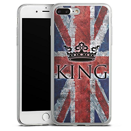 Apple iPhone 8 Plus Slim Case Silikon Hülle Schutzhülle Unionjack King Flagge Silikon Slim Case transparent