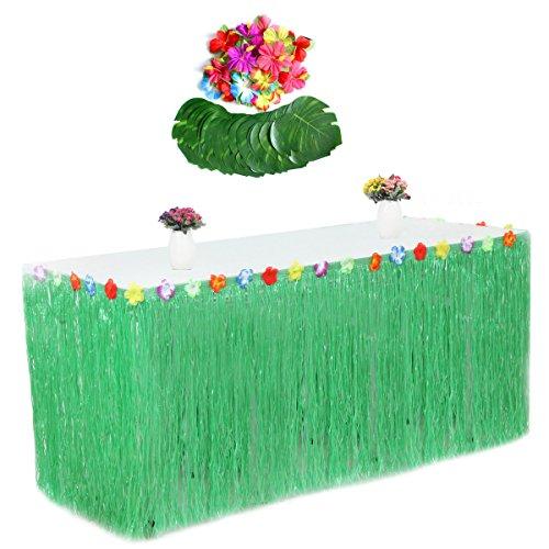 Fortuning's JDS Tropischer Blatt-Hibiscus-Blumen-Gras-Tabellen-Rock für Hawaiische Party-Dekorationen(55Pcs)