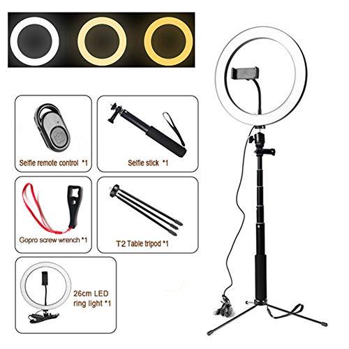 26cmLED Ringlicht mit Stativ Stand, Dimmbar Tabelle Annular Lampe zum Selfie, Bilden, Leben Strom, Youtube, Vlog, Kamera- / Telefonvideoaufnahme